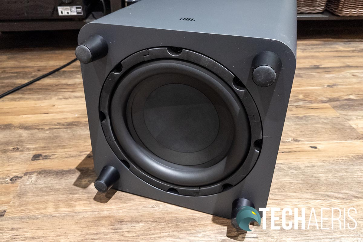 Bottom view of the JBL Bar 9.1 Dolby Atmos subwoofer