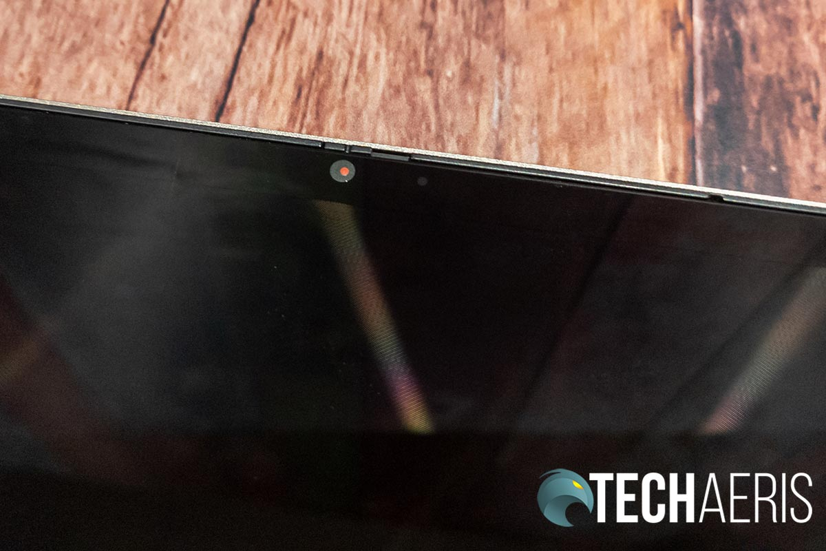 The 720p HD camera with privacy shutter closed on the Lenovo YOGA C740 2-in-1 laptop