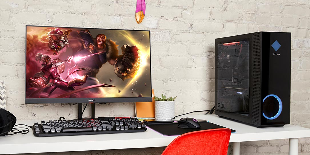 HP OMEN 30L gaming desktop and OMEN 27i gaming monitor