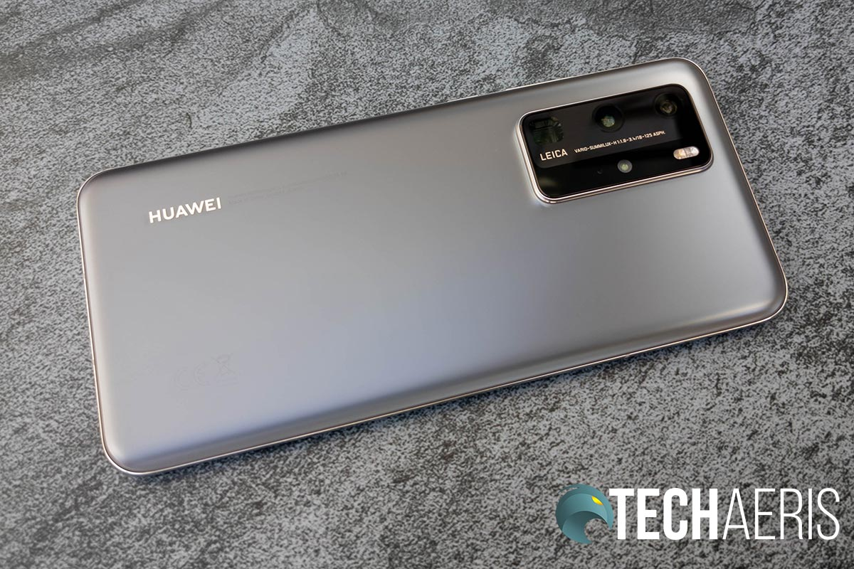 The Silver Frost finish on the back of the Huawei P40 Pro smartphone
