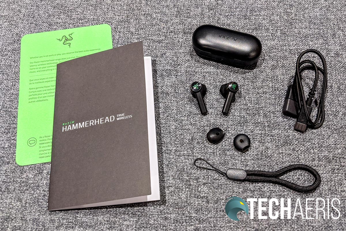 What's included with the Razer Hammerhead True Wireless Earbuds