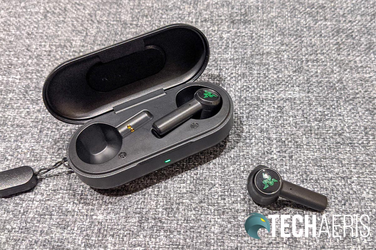 The Razer Hammerhead True Wireless Earbuds recharge in the included charging/carry case