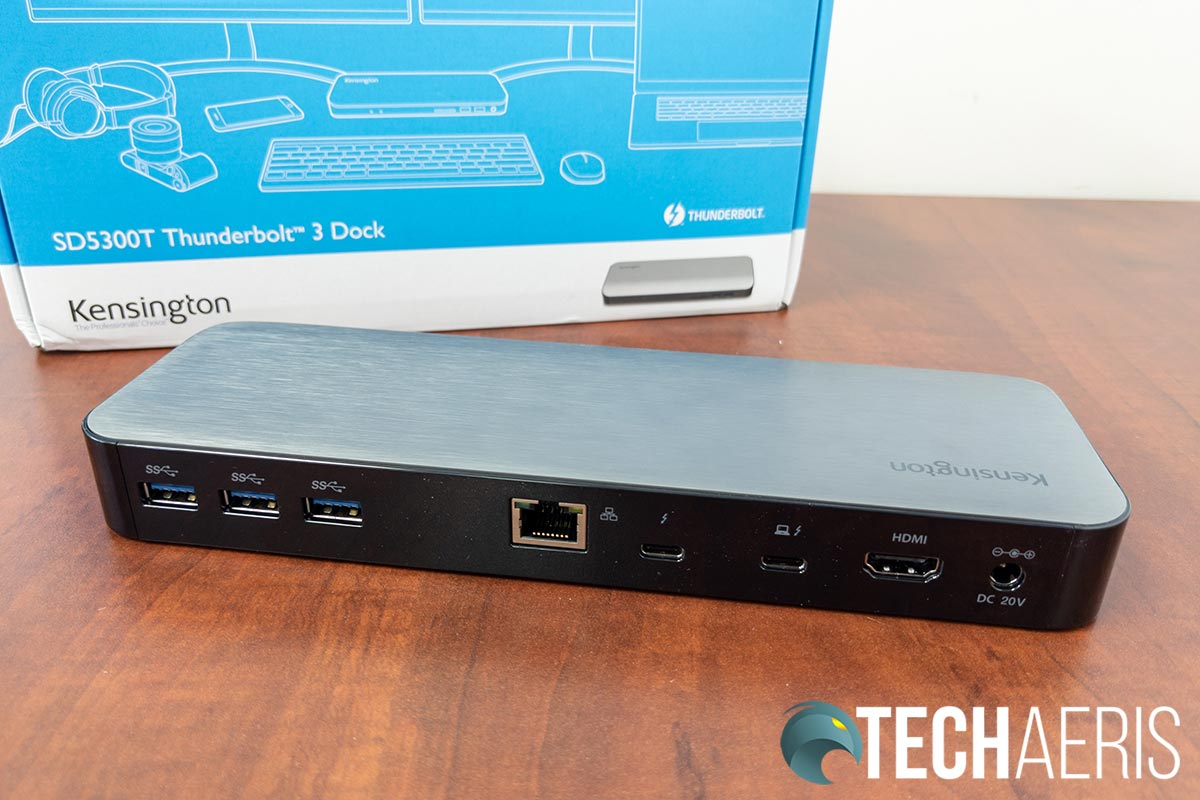 The back of the Kensington SD5300T Thunderbolt 3 Dock