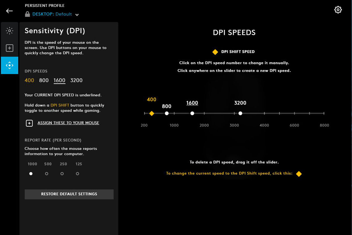 Logitech G Hub Sensitivity (DPI)