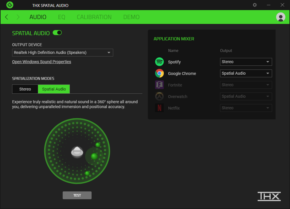 The Razer THX Spatial Audio Windows 10 app mixer settings screenshot
