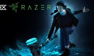 Girl with hammer and THX Razer logos