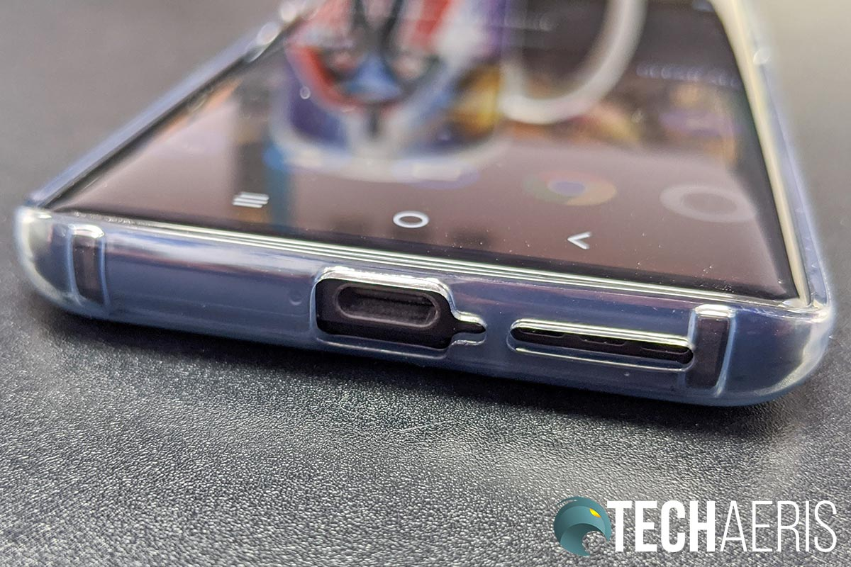 The USB Type-C port and bottom-firing speaker on the TCL 10 Pro Android smartphone with the included case