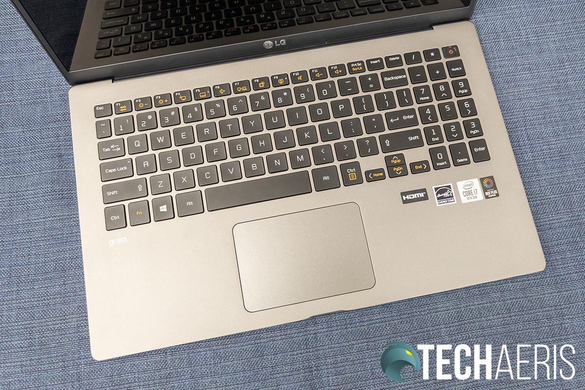 The 15-inch LG gram laptop keyboard
