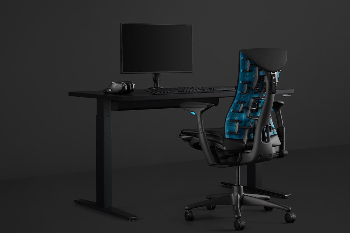 The Embody Gaming Chair with the Motia Desk and Ollin Monitor Arm