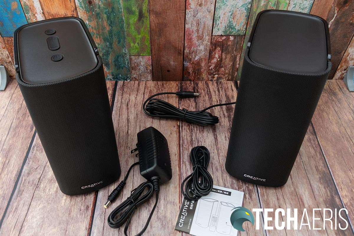 What's included with the Creative T100 Premium Hi-Fi 2.0 Desktop Speakers