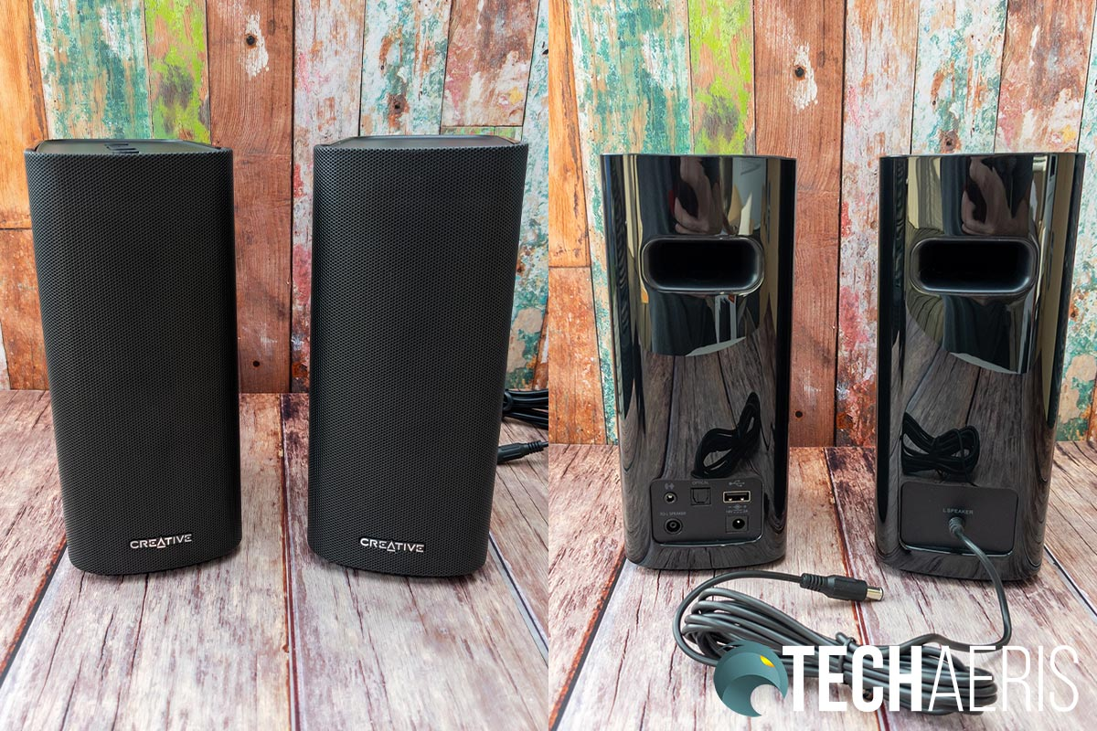 Front and back view of the Creative T100 Premium Hi-Fi 2.0 Desktop Speakers