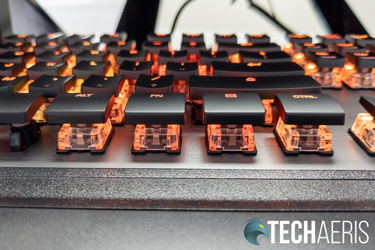 The keycaps on the ROCCAT Vulcan 120 AIMO mechanical gaming keyboard are slim