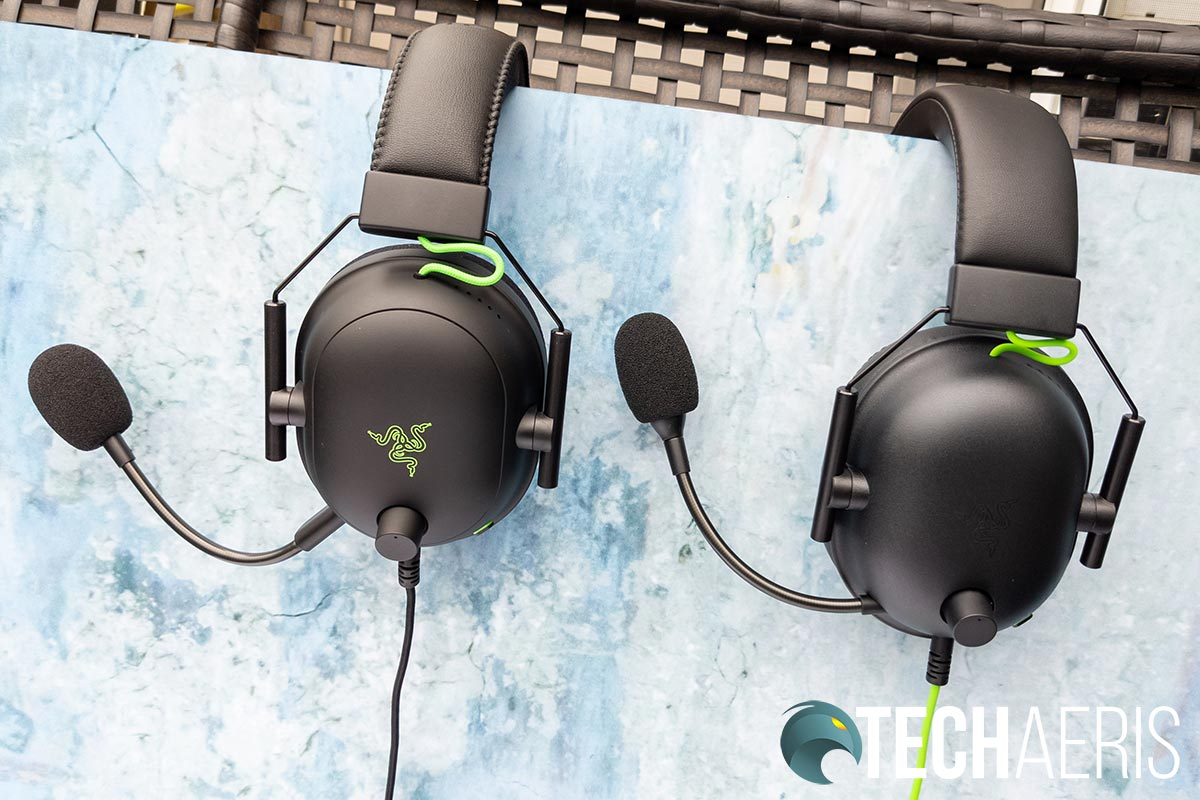 Razer BlackShark V2 and BlackShark V2 esports gaming headsets side view