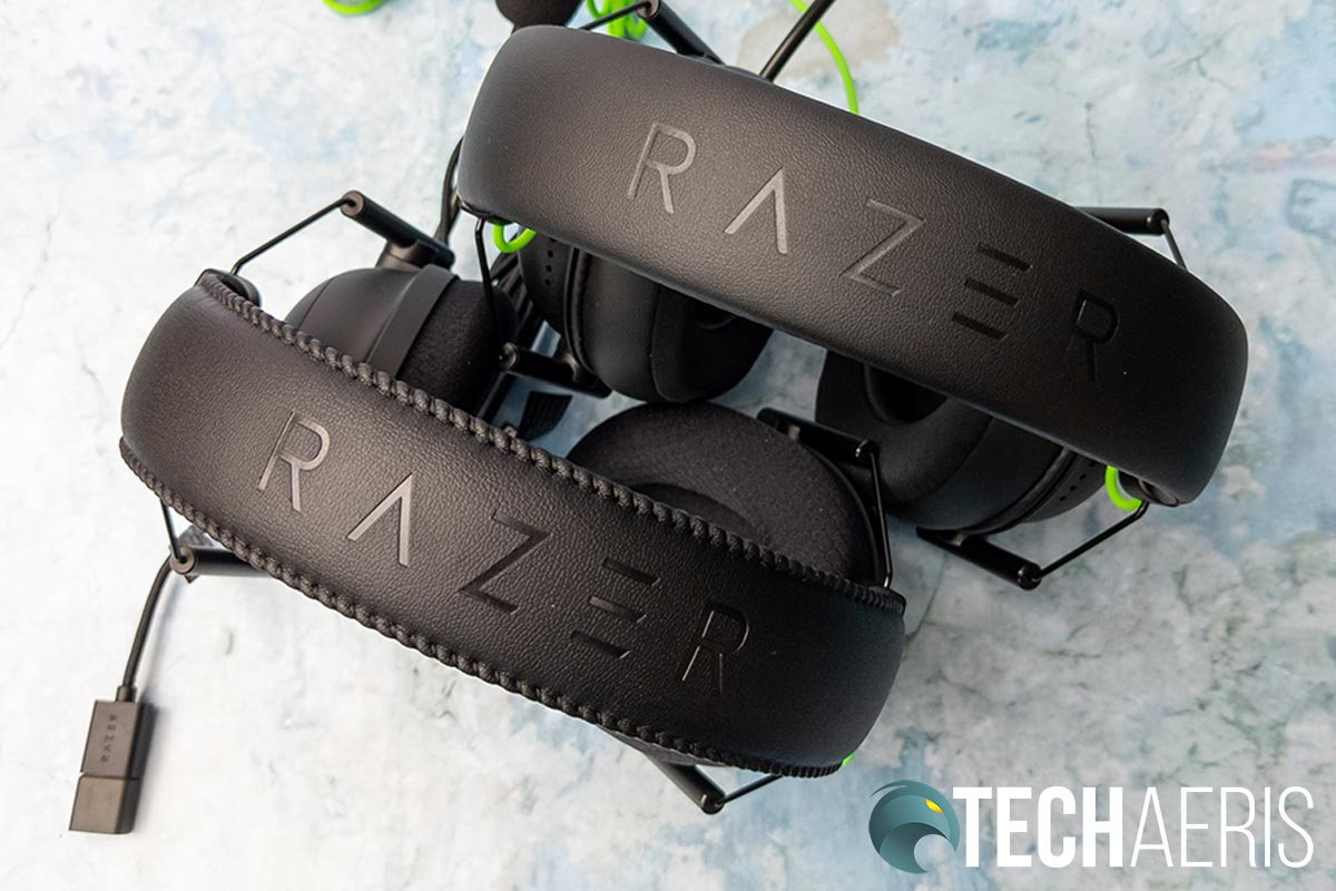 The headbands on the Razer BlackShark V2 (bottom) and BlackShark V2 X