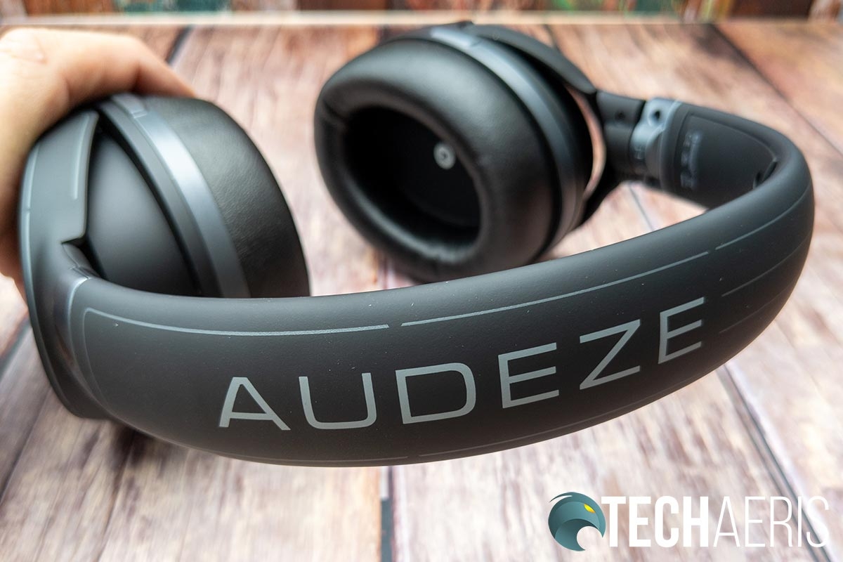 The branding on the top of the headband on the Audeze Mobius headset