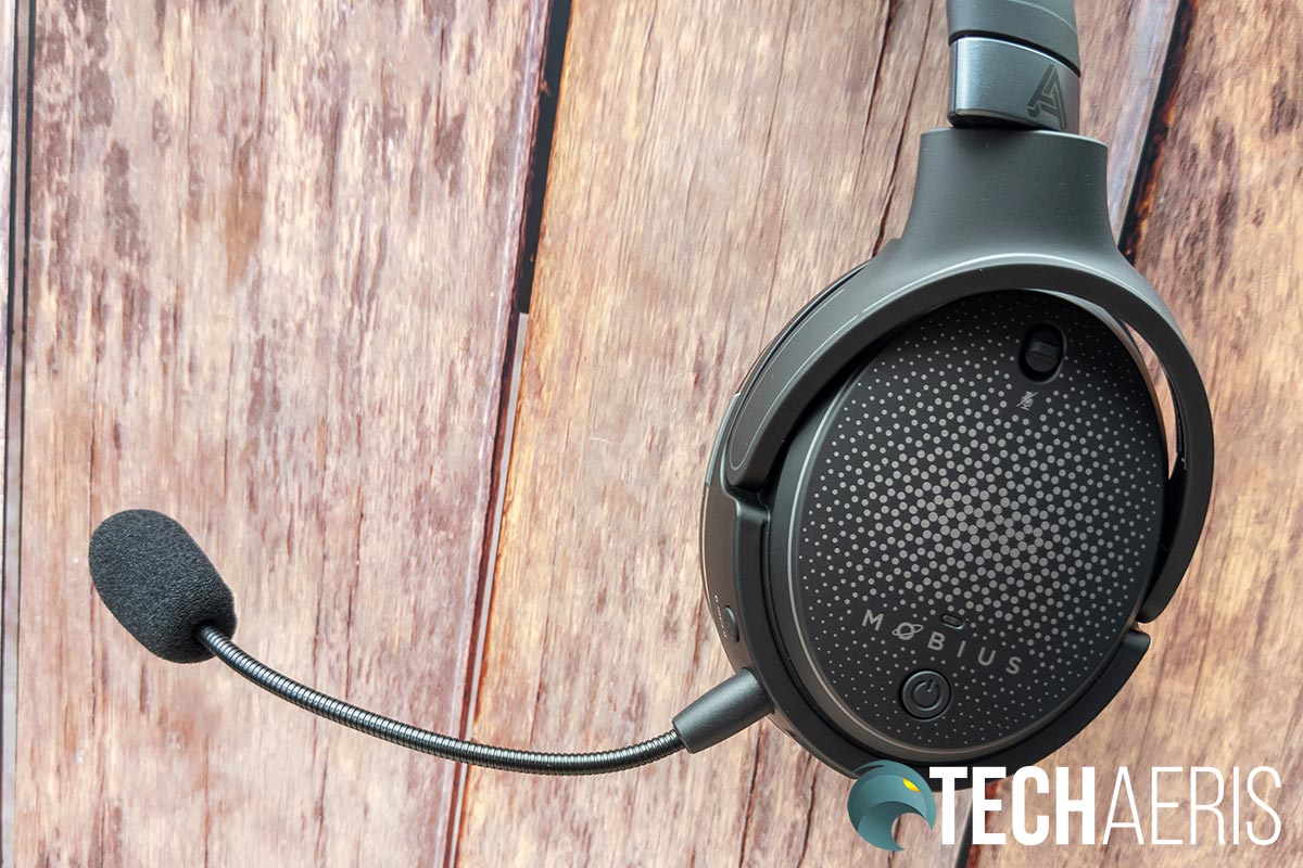 The detachable microphone included with the Audeze Mobius headset