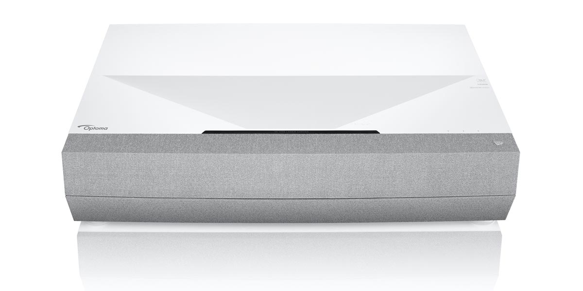 The Optoma CinemaX P2 Smart 4K UHD Laser short-throw projector