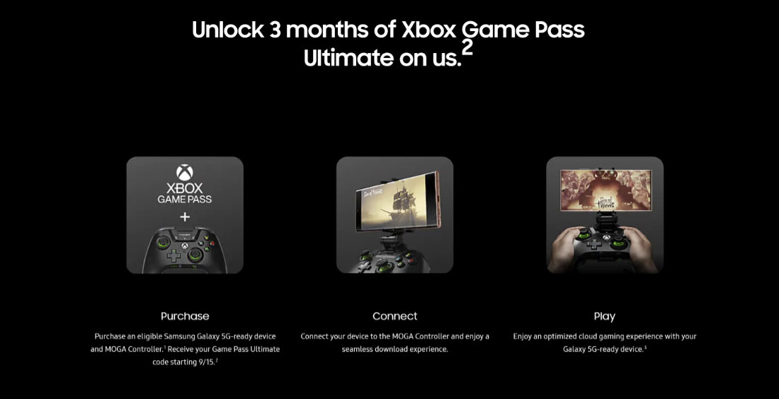 Xbox Game Pass Ultimate Samsung Galaxy Store Note20 TabS7