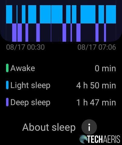 Example Sleep tracking screenshot from the OPPO Watch 46mm (Wi-Fi)