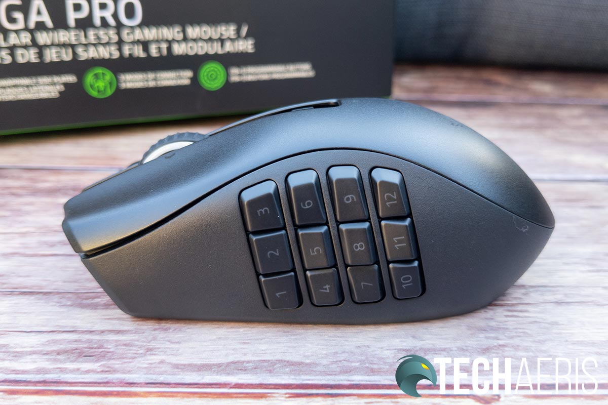 The twelve button side plate on the Razer Naga Pro wireless gaming mouse