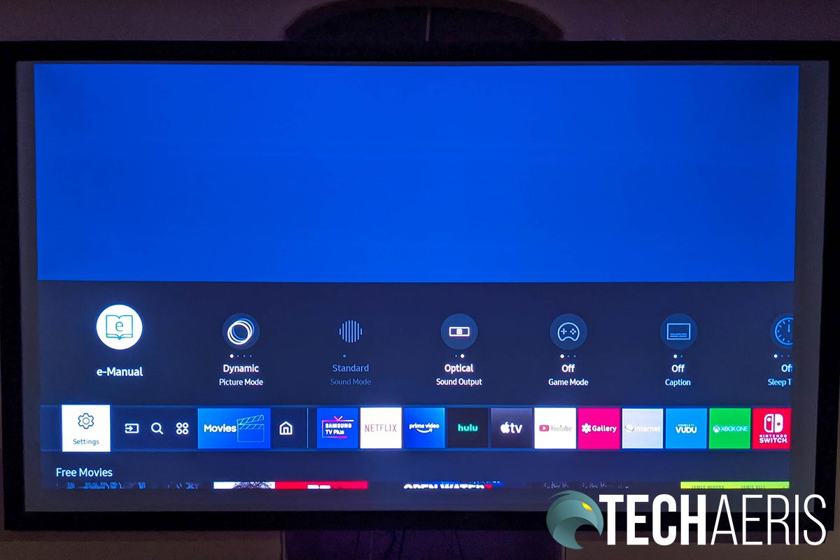 The main interface on the Samsung Premiere 4K laser projector with quick settings toggled