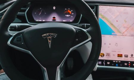 vehicle hacking tesla steering wheel with map on display