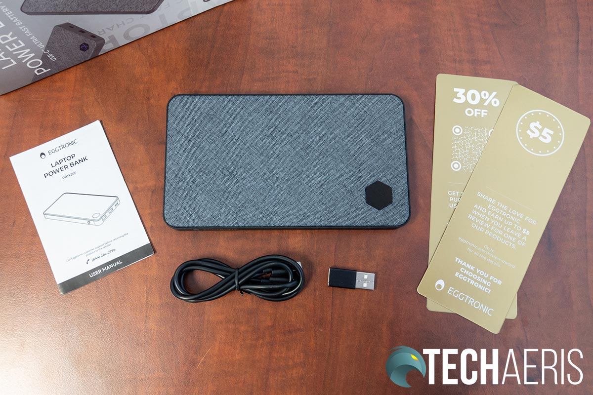 What's included with the Eggtronic Laptop Power Bank