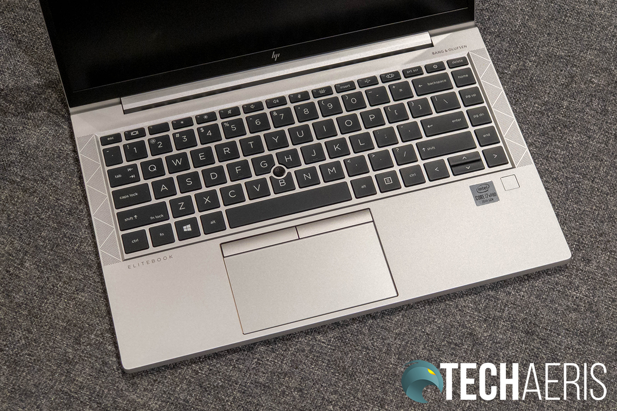 The keyboard on the HP EliteBook 840 G7 laptop