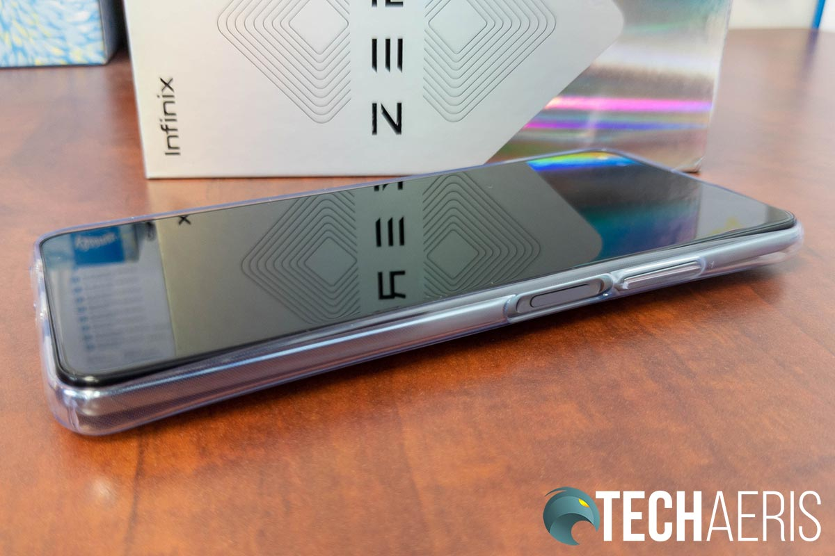 The power button/fingerprint scanner and volume rocker on the Infinix ZERO 8 Android smartphone