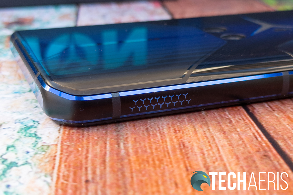 The Y-triggers on the right side of the Lenovo Legion Phone Dual gaming smartphone