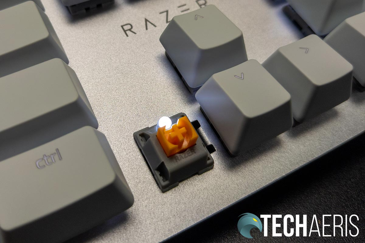 The Razer Pro Type mechanical keyboard usees Razers orange tactile/silent switches