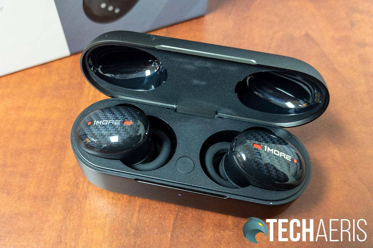The 1MORE True Wireless ANC In-Ear Headphones in the included carrying/charging case