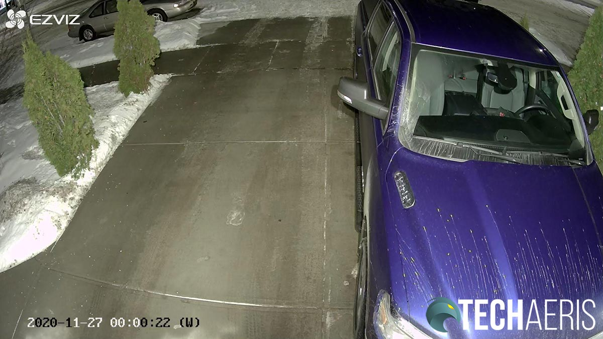 Sample night image with floodlights on from the EZVIZ LC1C Smart Security Light Camera