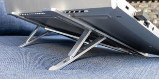 HyperStand portable laptop stand with laptop
