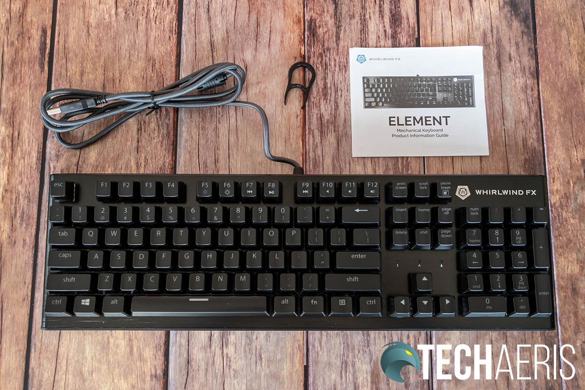 What's included with the Whirlwind FX Element mechanical gaming keyboard