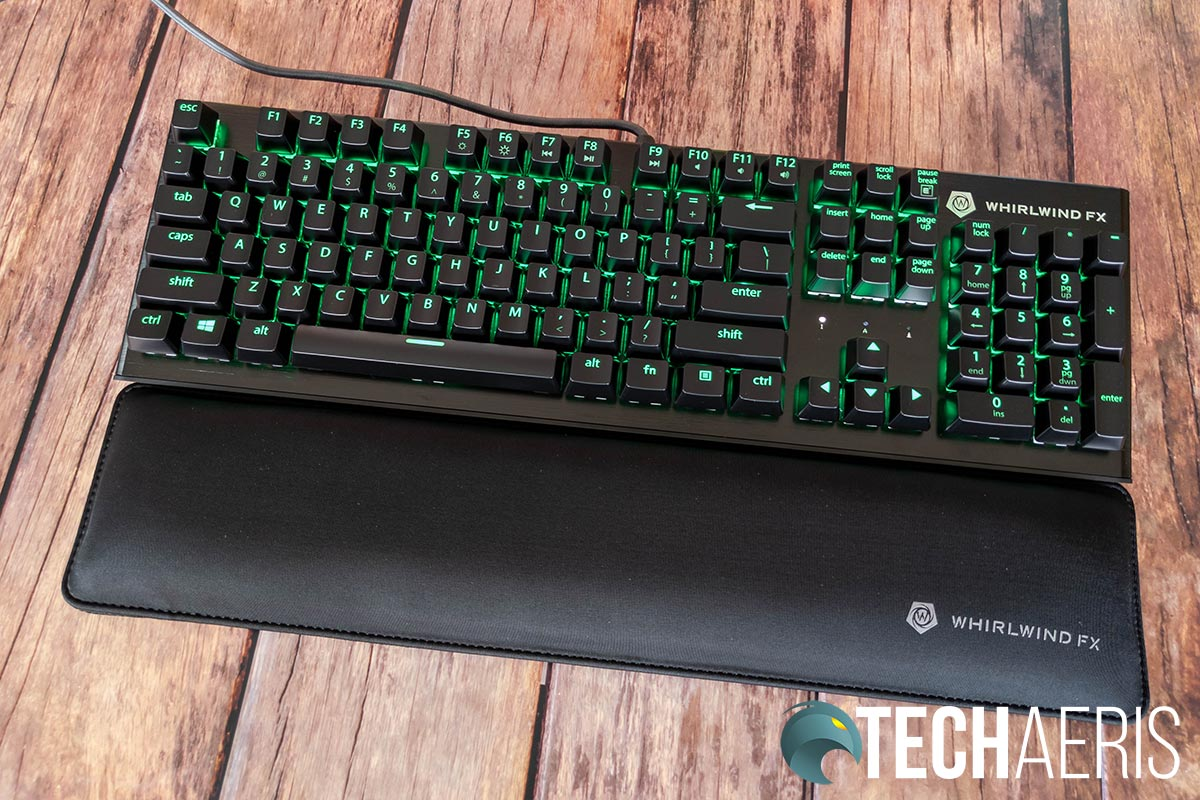 The Whirlwind FX Element mechanical gaming keyboard with optional wrist pad