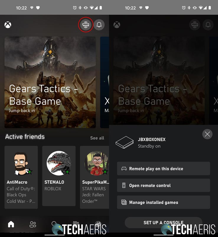 Xbox App screenshot showing current Xbox when console streaming button selected