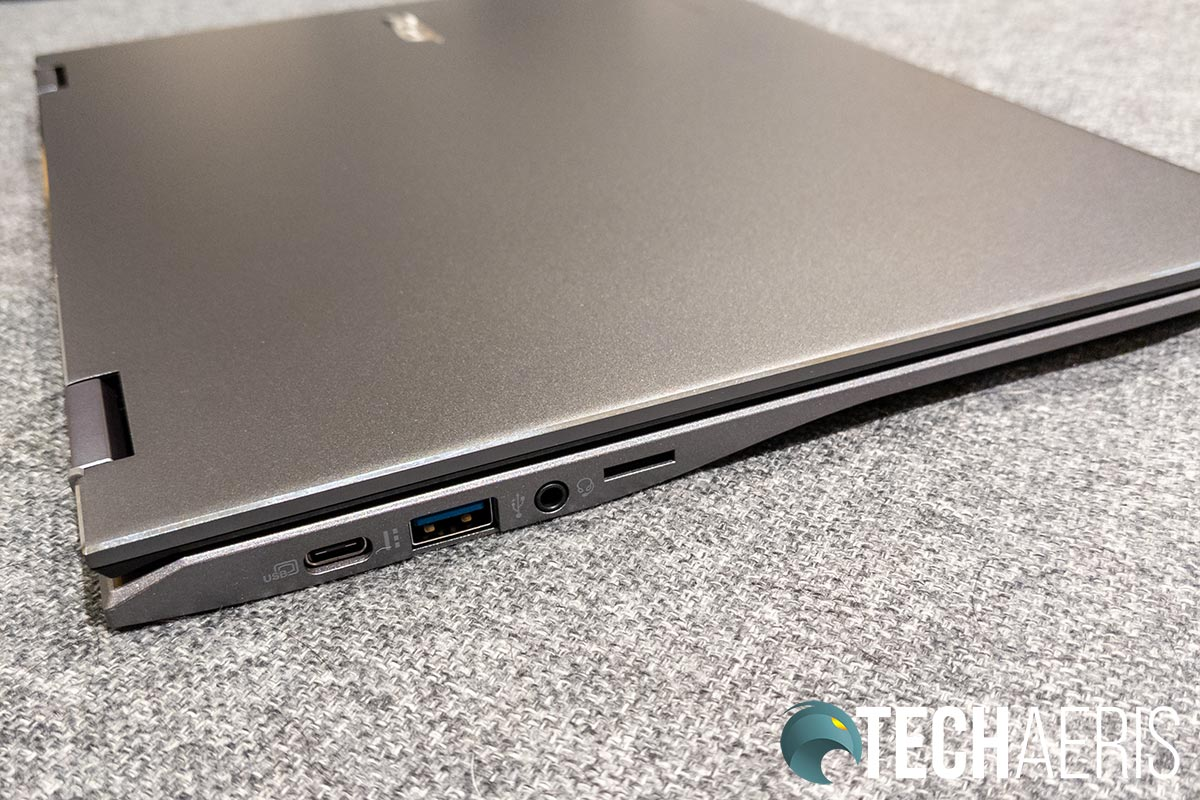 The ports on the left side of the Acer Chromebook Spin 713
