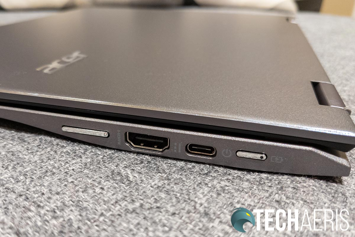 The ports on the right side of the Acer Chromebook Spin 713