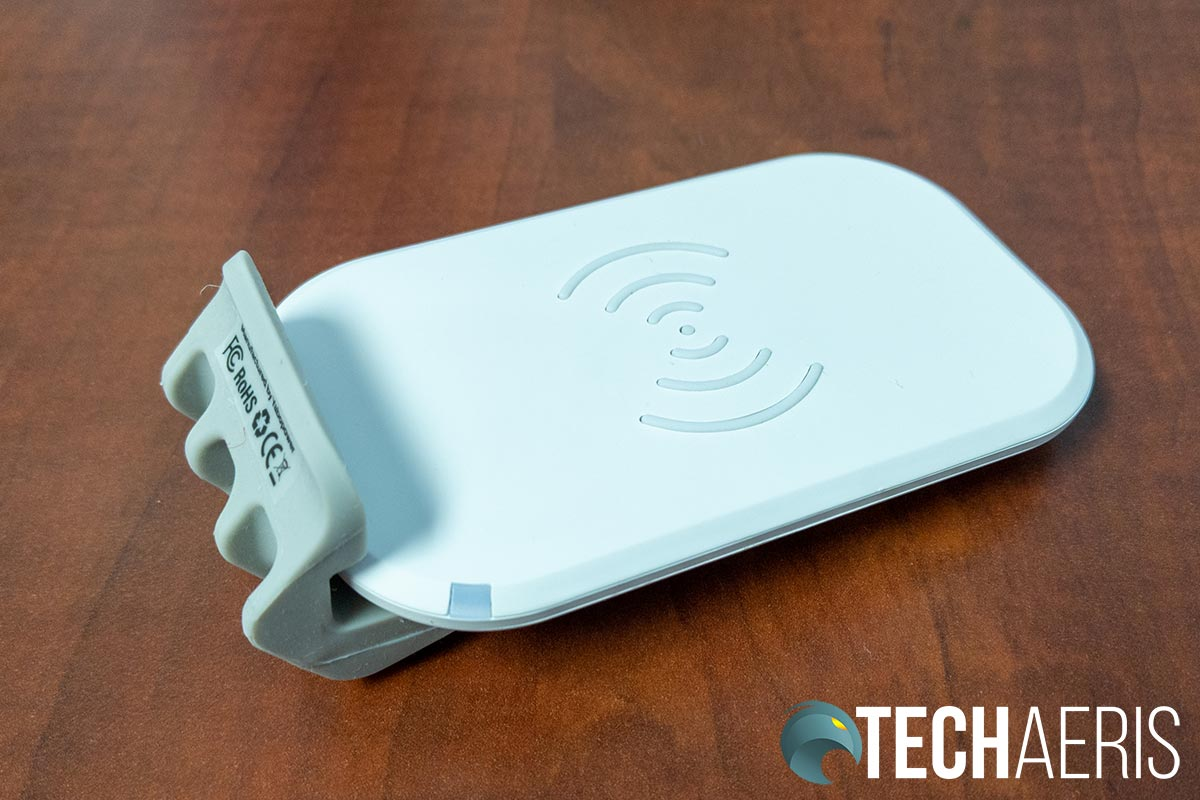 The wireless charging pad included with the Fluidstance Slope+