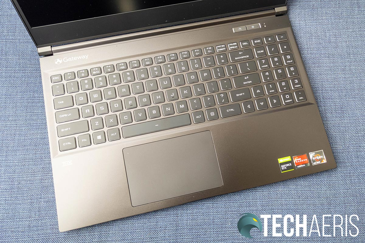 The keyboard and trackpad on the Gateway Creator Series laptop