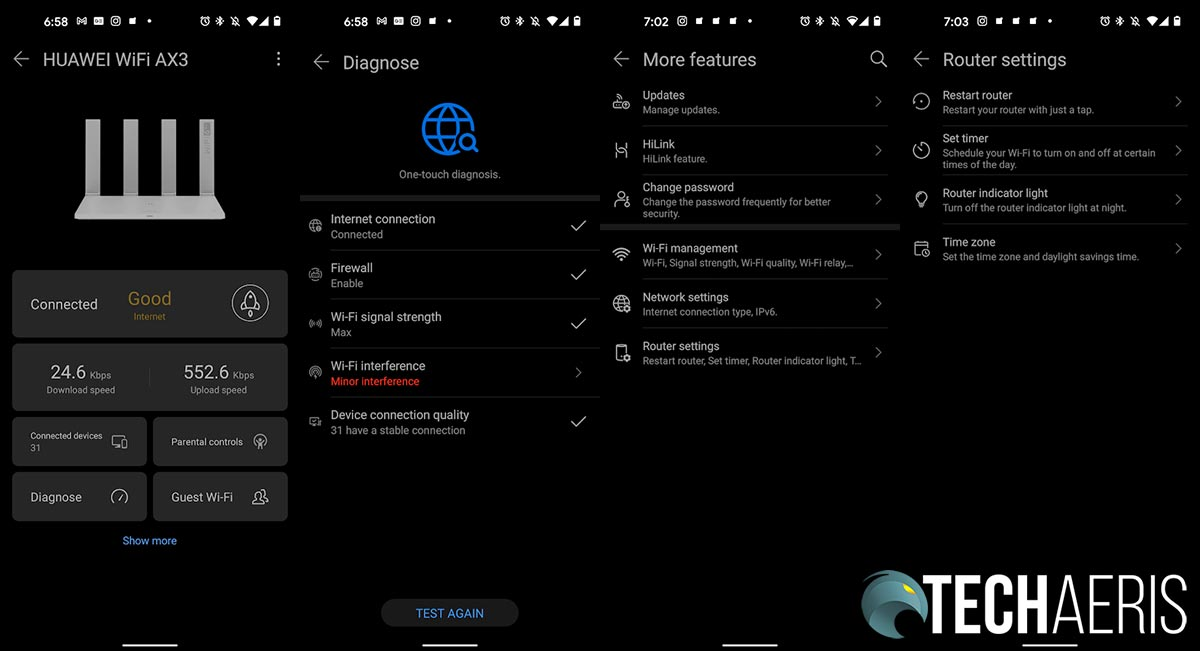 Sample screenshots from the Huawei AI Life Android app