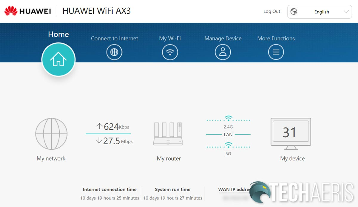 Main screen of the web interface for the Huawei WiFi AX3 3000Mbps Wi-Fi 6 router
