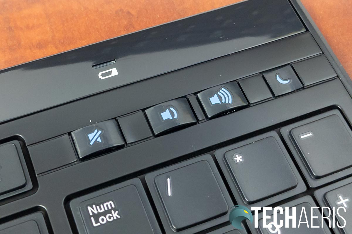 The Kensington Slim Type Wireless Keyboard has dedicated volume control and sleep buttons