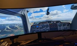 Microsoft Flight Simulator 2020 running on Samsung Odyssey G9 gaming monitor