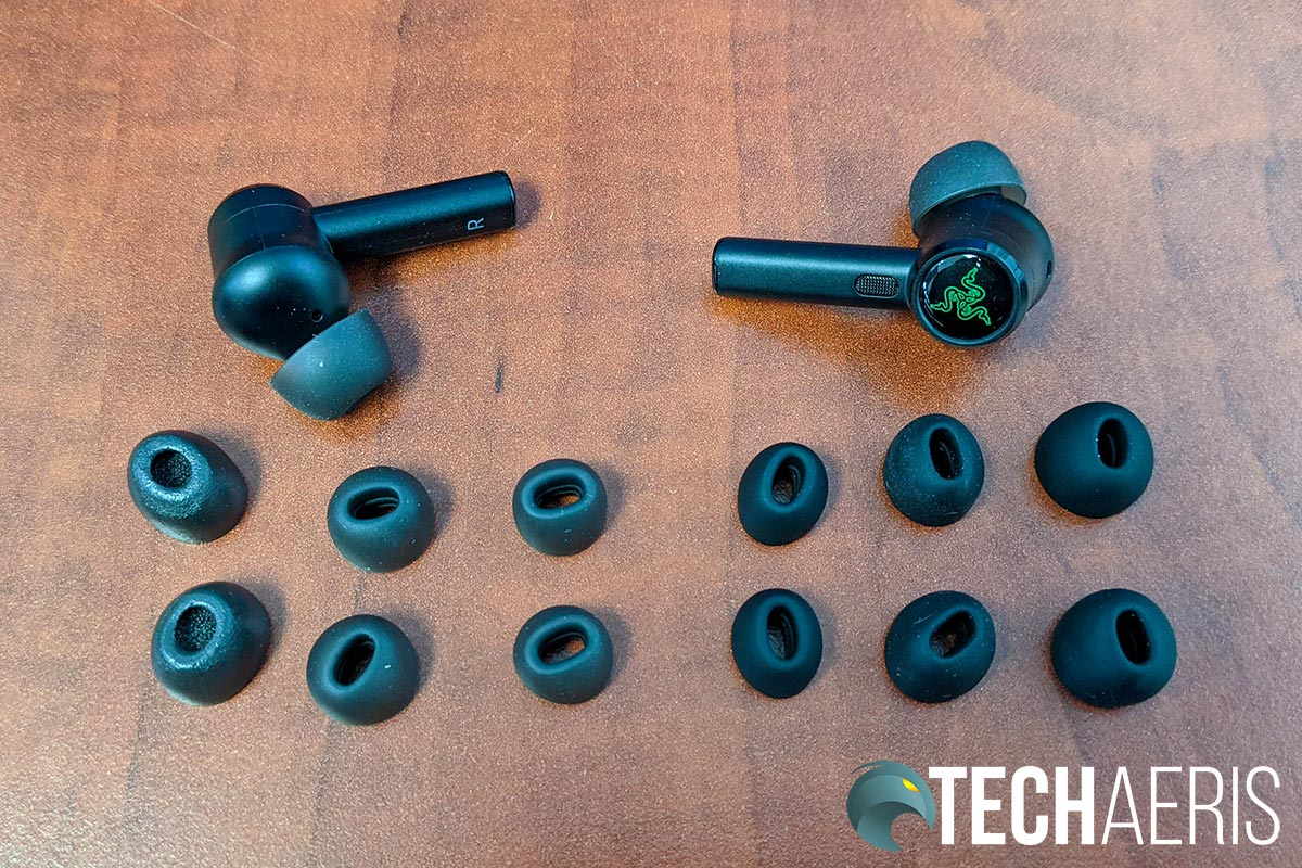 Razer has included three different styles for seven total eartip options with the Hammerhead True Wireless Pro earbuds