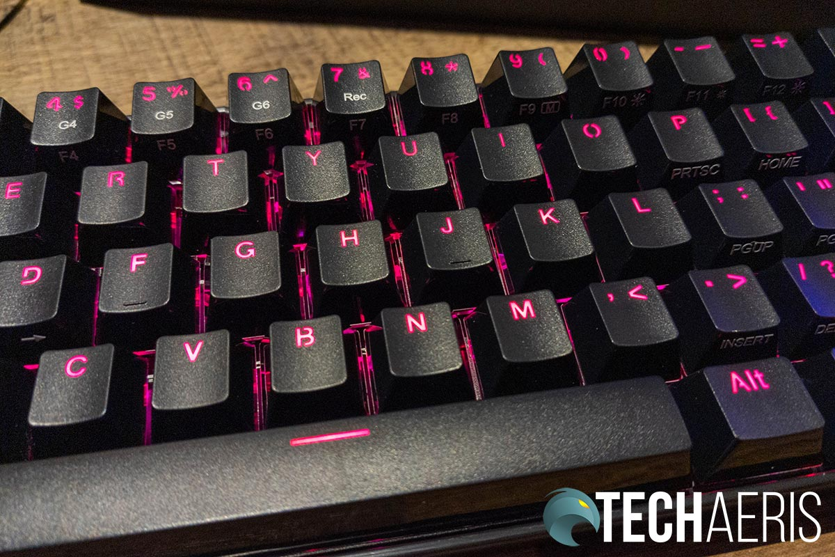 RGB lighting on the Redragon K530 Draconic mechanical gaming keyboard