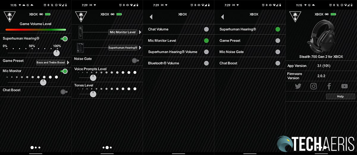 The Turtle Beach Audio Hub mobile app screenshots