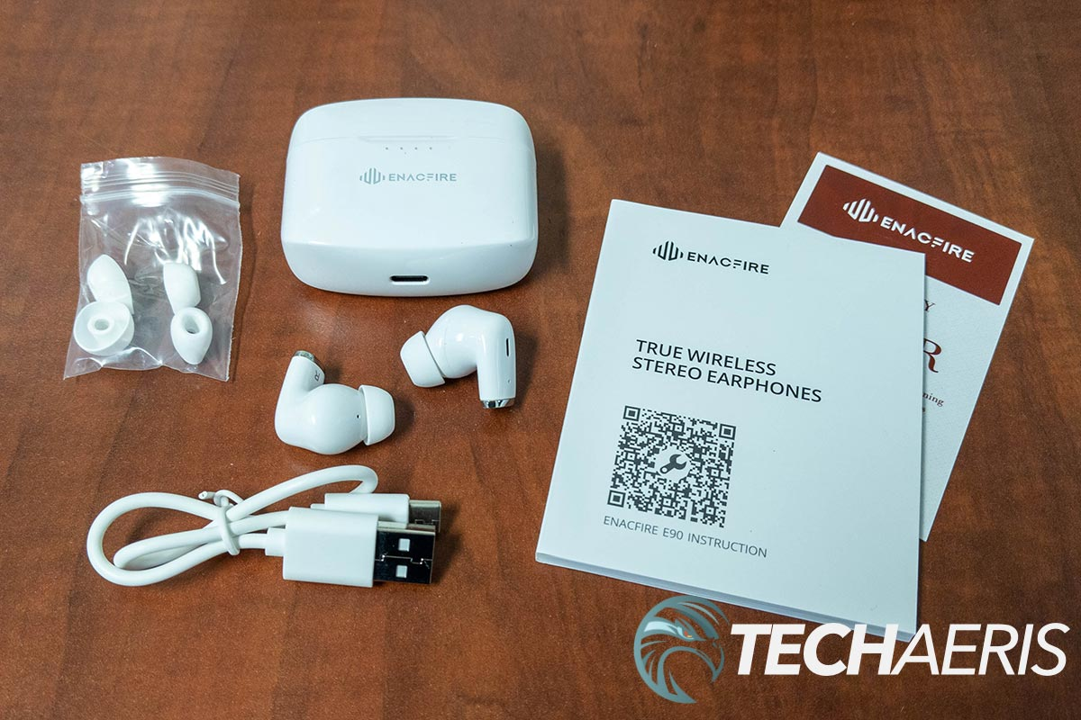 What's included with the Enacfire E90 True Wireless Stereo Earphones