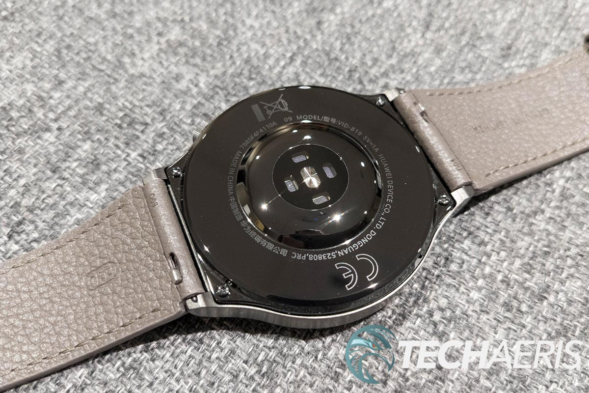 The sensors on the bottom of the Huawei Watch GT 2 Pro fitness smartwatch